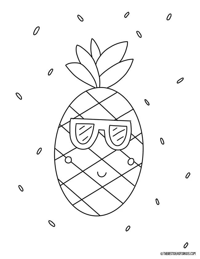 Página para colorir de abacaxi de verão