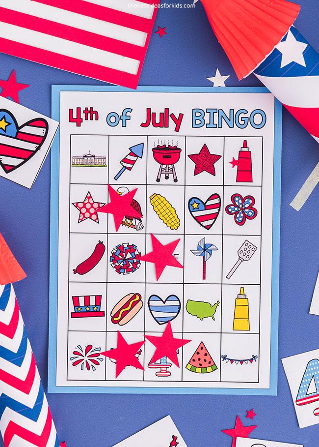 cartões de bingo de quarto de julho