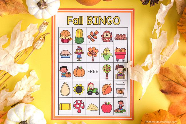 Fall Bingo Printable Cards for Kids