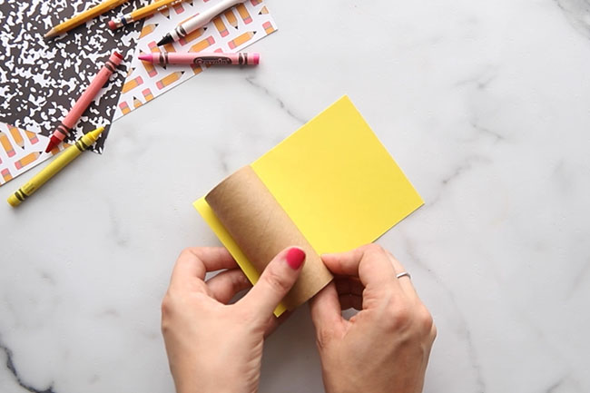 Glue Yellow Paper to Paper Roll