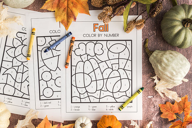 Color by number printables for fall