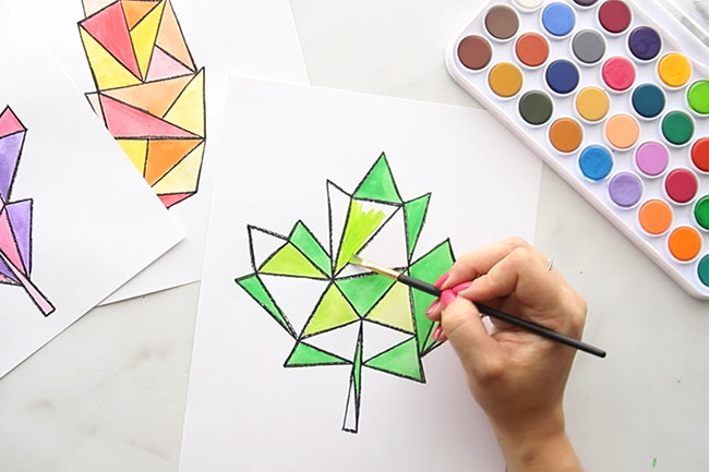 Paint Watercolors on Maple Leaf