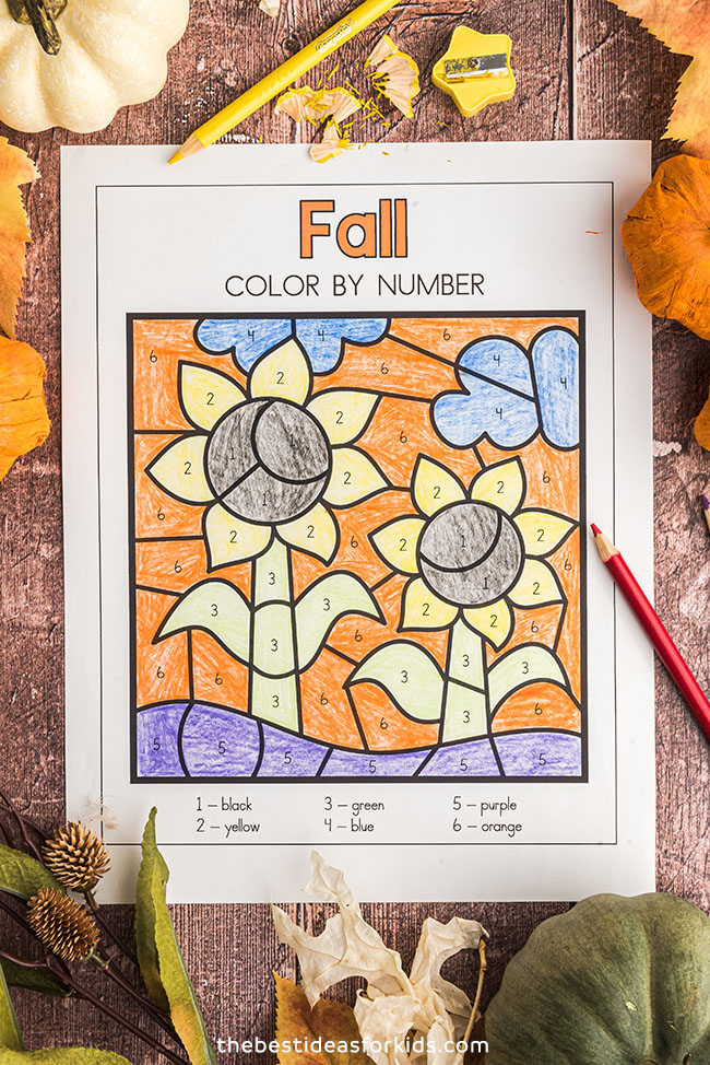 Sunflower Color by Number Printable