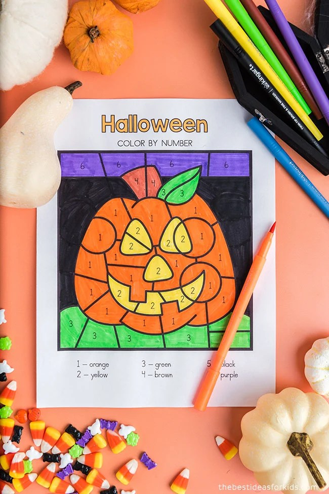 Free Halloween Pumpkin Color by Number