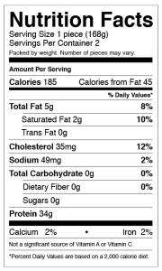 Australis Nutrition Facts - All-Natural Bags