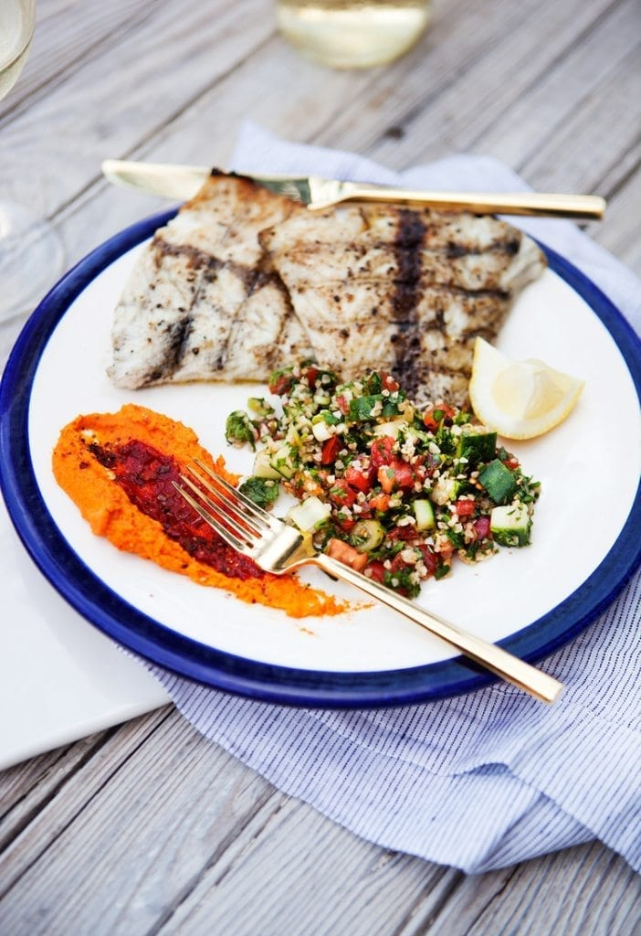 Grilled barramundi and salsa