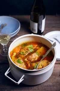 Barramundi Stew with Saffron Broth