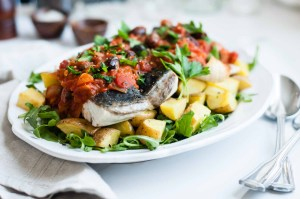Quick Broiled Barramundi Fillets With Puttanesca Sauce