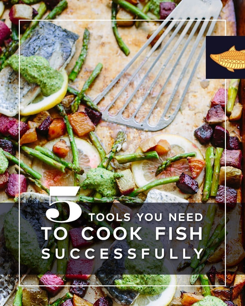 Plate with fish spatula, text overlay: 5 tools you need to cook fish successfully