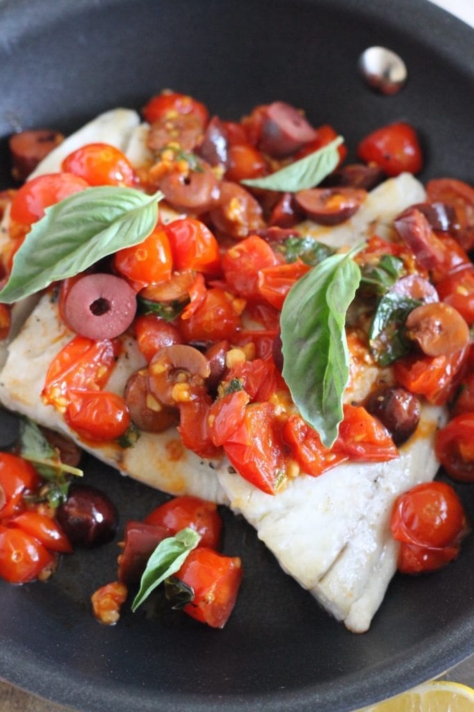 Barramundi in Tomato Basil White Wine Sauce