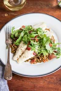 Baked Barramundi with Braised Lentils featuring Australis Barram