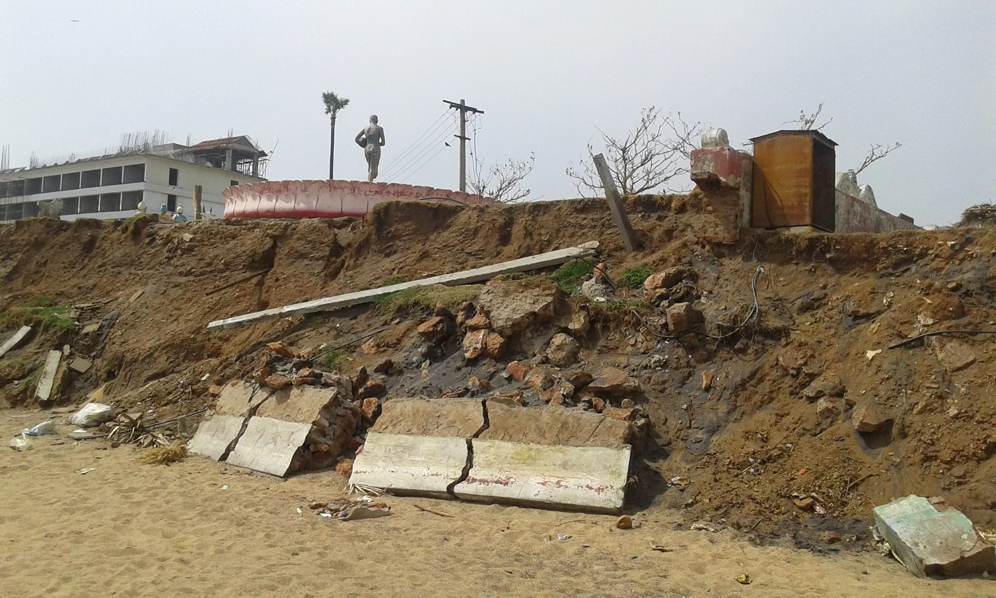 Next to the beach in Vishakhapatnam, the cyclone damaged all this.