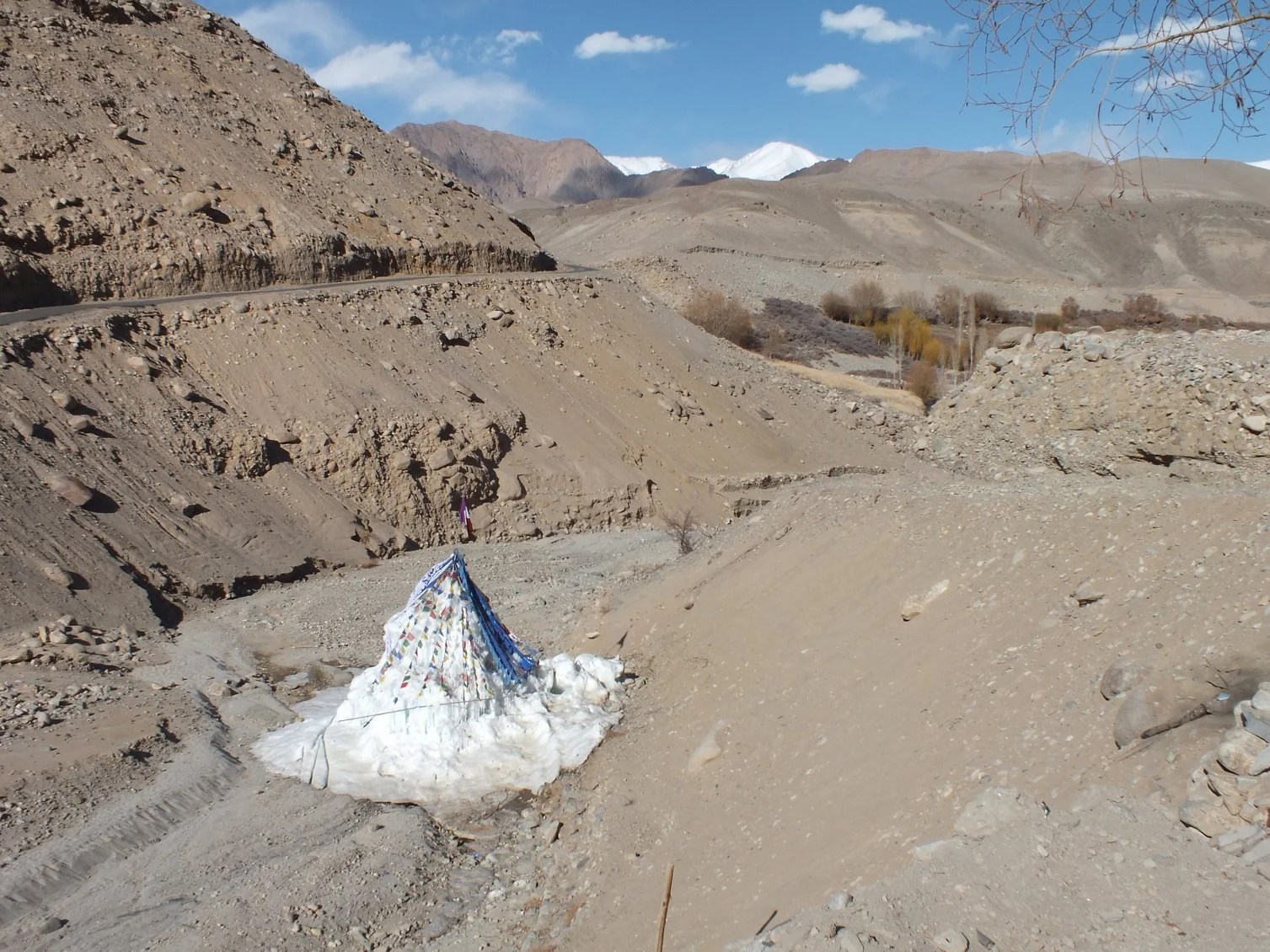 By mid- March all the flat ice on ground had melted, but not Wangchuk's Stupa.