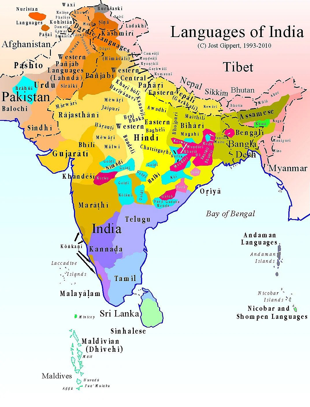 Most Dravidian languages are spoken in South India, with the exception of Brahui, which is spoken in Pakistan.