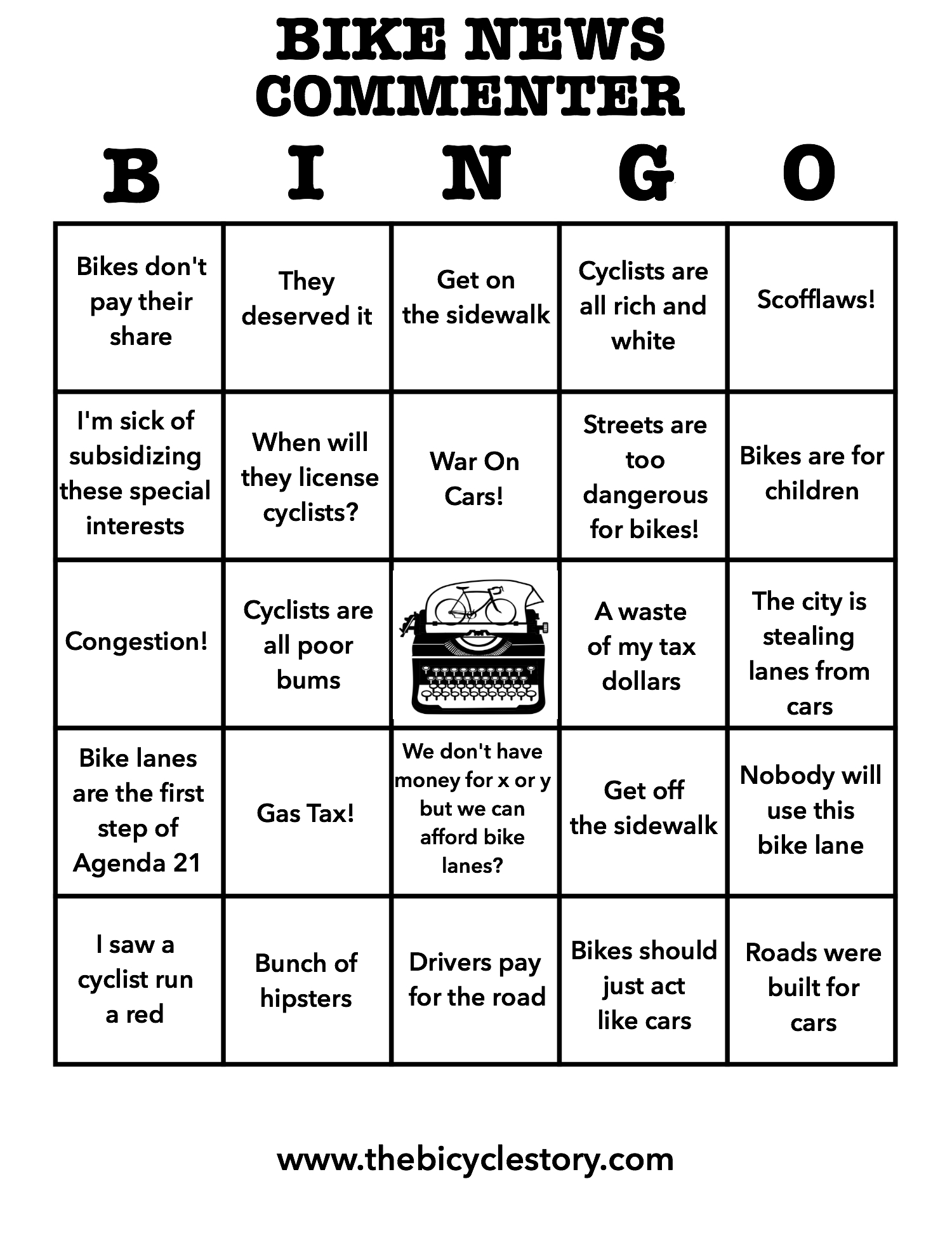 Bike News Troll Bingo