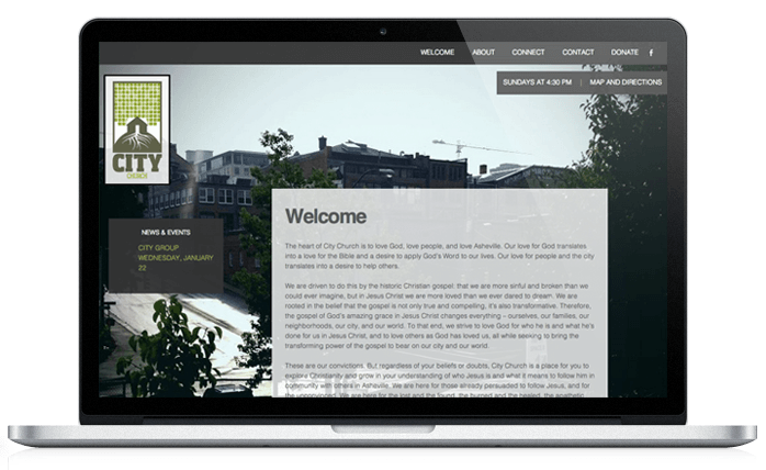 City Church Web Design Welcome Page