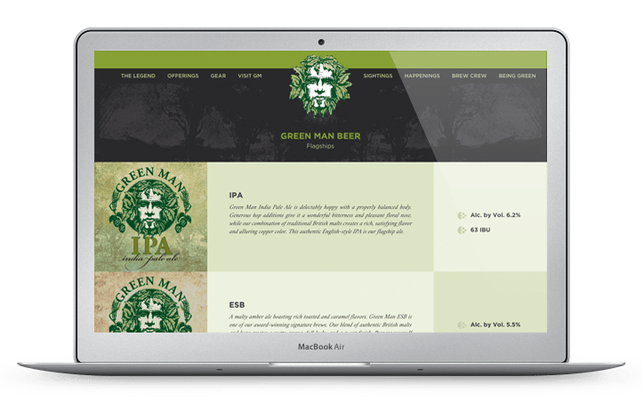 Green Man Brewery Web Design Beer Page