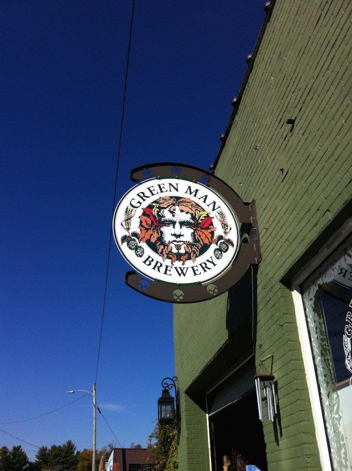 Green Man Brewery Fall Logo Building Sign
