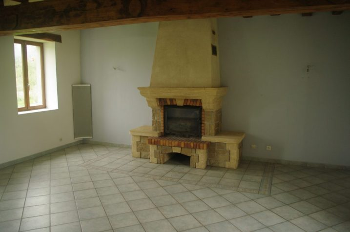 The new fireplace + Blanche