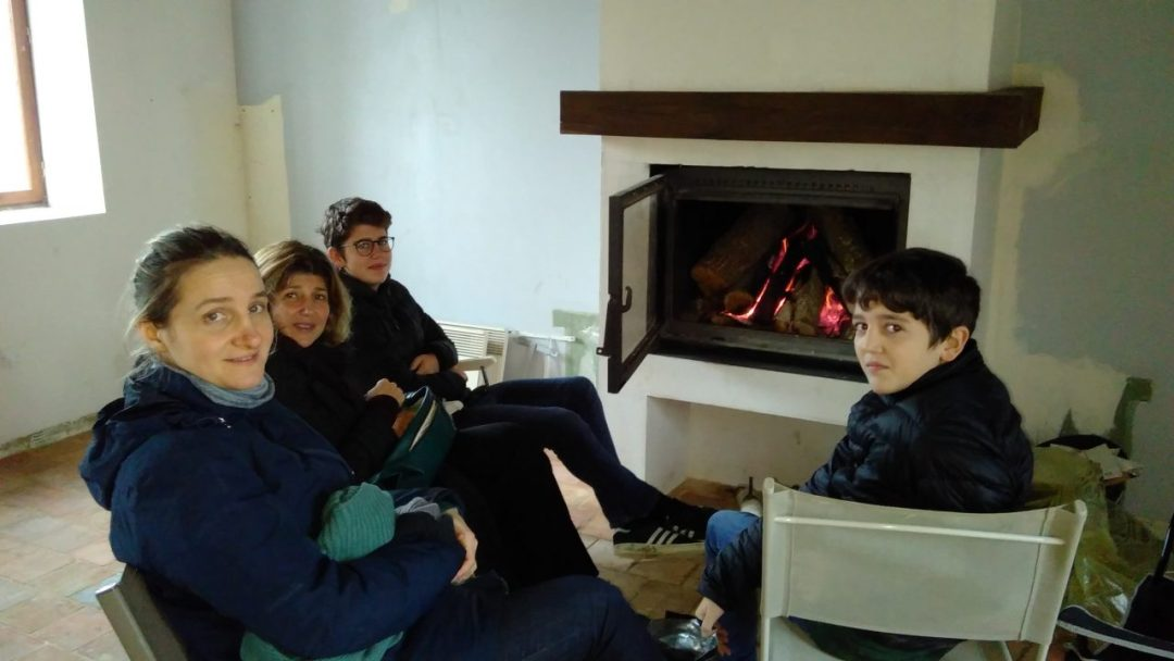 Christmas Day lunch by the fire