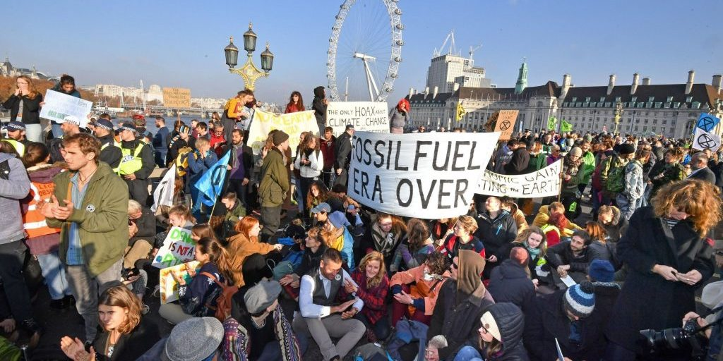 Extinction Rebellion protestors block Waterloo Bridge