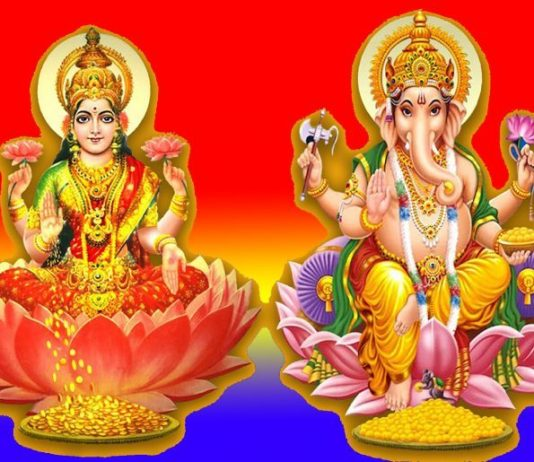 Goddess-Lakshmi-with-God-Ganesha-