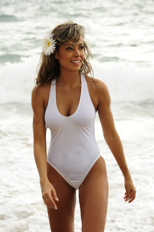 Sheer White One Piece Swimsuit-1