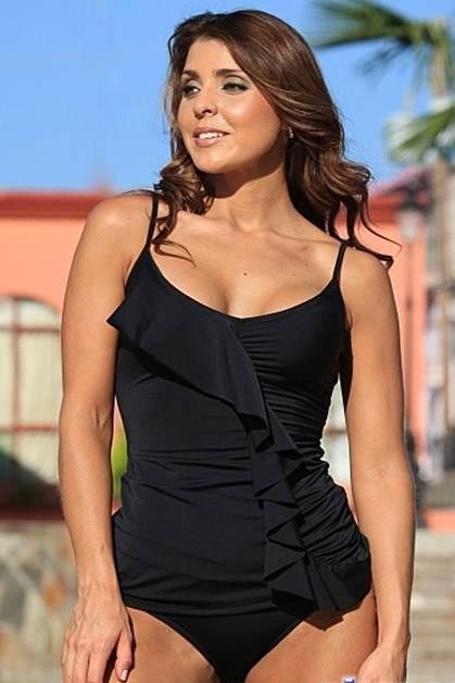 Black Tankini Bikini Ruffled Front