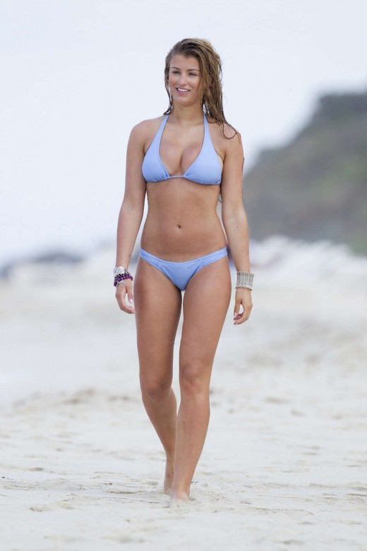 Willerton Amy Candid Bikini shots-strolling on a beach in bikini