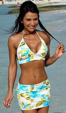 Bikinis for Women Over 40 Ocean Style Crusie Skirted with Banded Halter Top