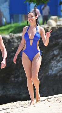 Kelly Brook Blue Cut Out One Piece Swimsuit