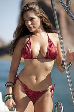 Kelly Brook Red Metallic Bikini