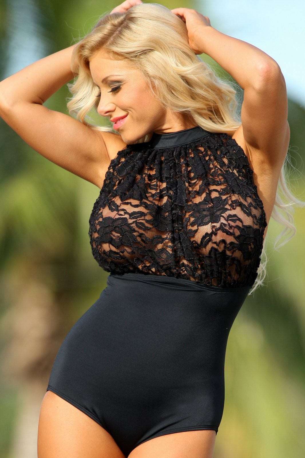 Black-Lace-Sheer-Bust-See-Through-One-Piece-Swimsuit