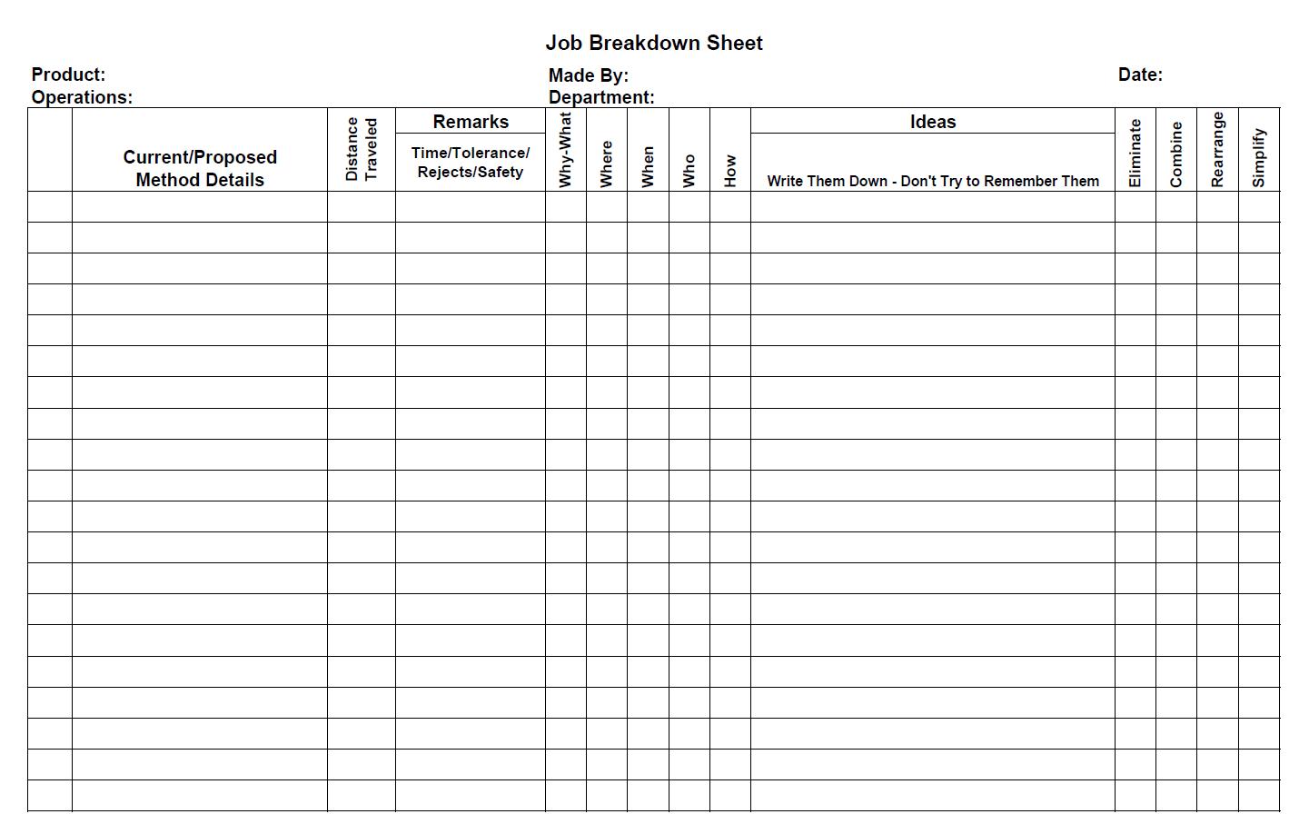 Jm Job Breakdown Sheet Blank