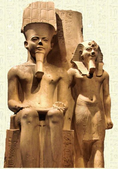 Pharaoh Horemheb with Amun standing beside him.