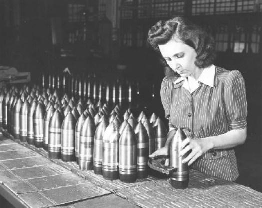 woman stacking artillery shell world war II