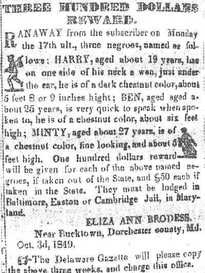 Harriet_Tubman_Reward_Notice_1849
