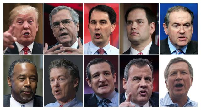 (FILES): These recent file photos show the ten Republican presidential candidates who will appear August 6, 2016 on Fox News for the first US presidential debate of the 2016 Republican primary cycle. Top row from left: Billionaire real-estate tycoon Donald Trump; former Florida governor Jeb Bush; Wisconsin Governor Scott Walker; Florida Senator Marco Rubio; former Arkansas governor Mike Huckabee. Bottom row from left: Retired neurosurgeon Ben Carson; Kentucky Senator Rand Paul; Texas Senator Ted Cruz; New Jersey Governor Chris Christie; and Ohio Governor John Kasich. AFP PHOTO / Files
