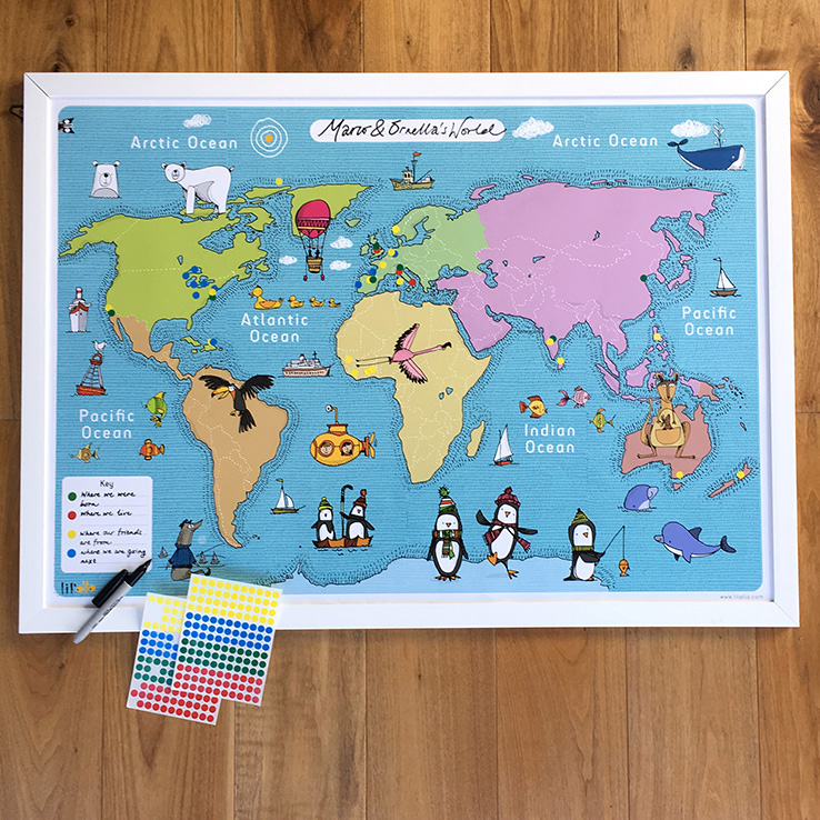 Giveaway enter to win a fun writable world map from lilollo a beautiful interactive a1 map of the world for you to personalize at home or in school create your own map key and add stickers to where you were born gumiabroncs Choice Image