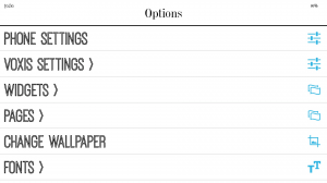 voxis options menu