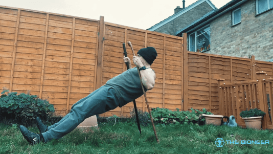 Bodyweight row with sticks