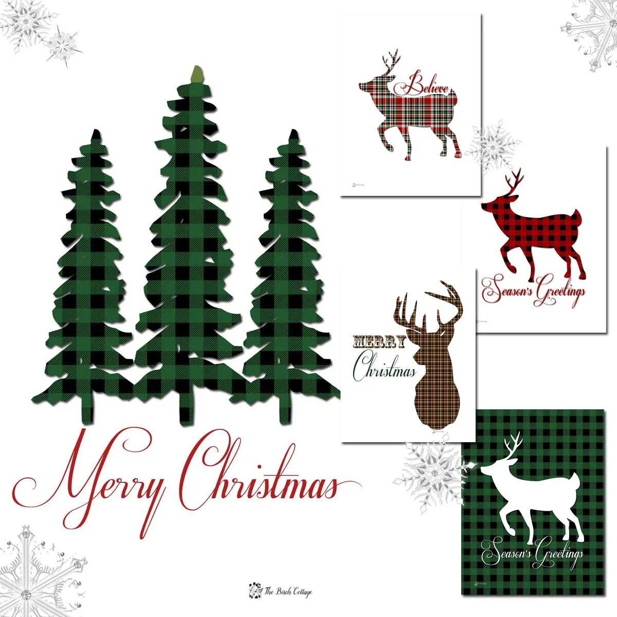Christmas Tree And Deer Plaid Christmas Prints