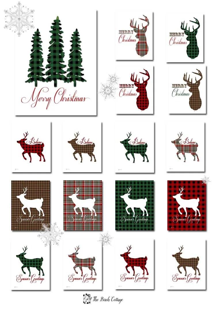 Christmas Tree And Deer Plaid Christmas Prints The Birch Cottage