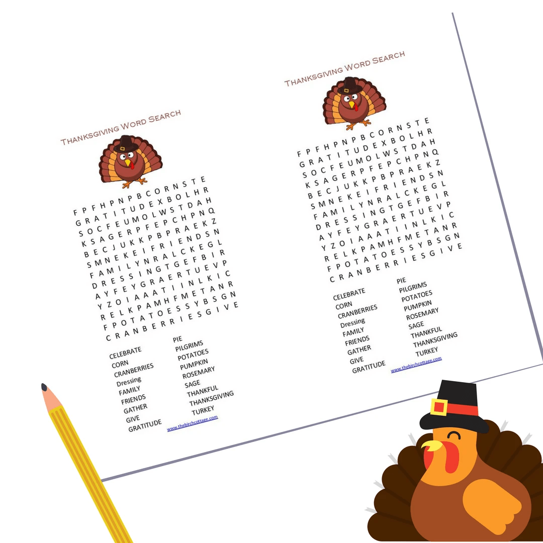 A Thanksgiving Word Search Printable For Children