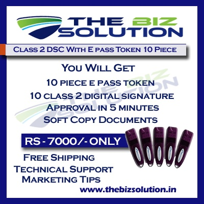 Bulk Digital Signature certificate with E pass token lowest price set of 10