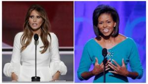 Melania Trump (L), wife of Republican U.S. presidential candidate Donald Trump, speaks at the Republican National Convention in Cleveland, Ohio, U.S. July 18, 2016 and Michelle Obama addresses the opening session of the 2008 Democratic National Convention in Denver, Colorado August 25, 2008 in a combination of file photos. REUTERS/Mike Segar/File Photo