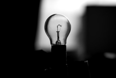 lightbulb in greyscale