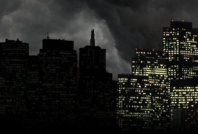 landscape of a city at night during a power outage