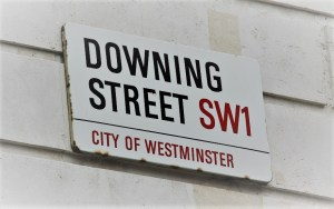 Picture of Downing Street street sign on white wall