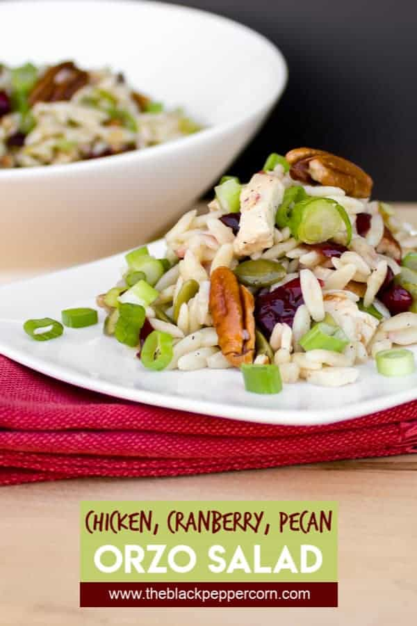 A hearty and healthy pasta salad recipe with orzo, chicken, pecans, dried cranberries, pumpkin seeds, scallions with a lemon vinaigrette using lemon juice, zest and olive oil.